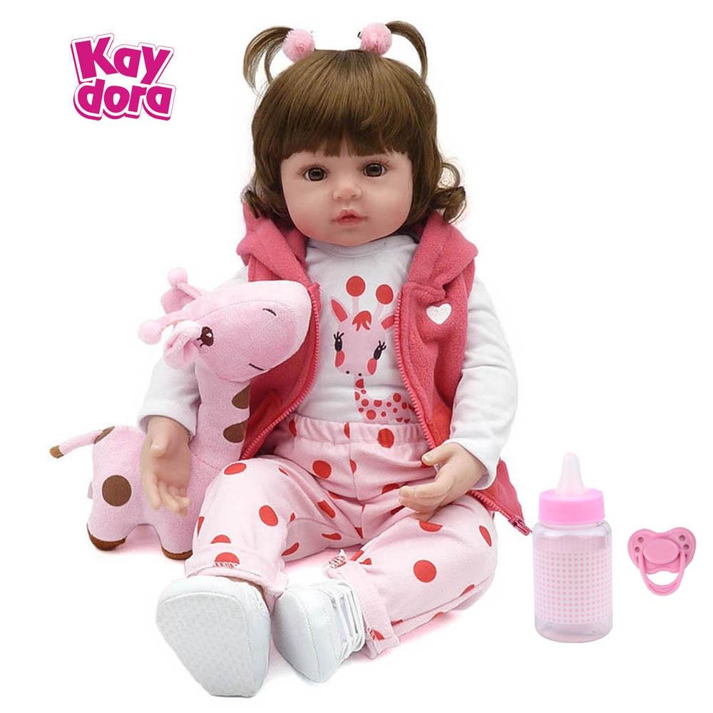 KAYDORA 47 cm/55 cm Silicone Reborn Baby Dolls Bébé En Vie Réaliste Boneca Bebe Réaliste Vraie Fille Poupée Reborn d'anniversaire De Noël