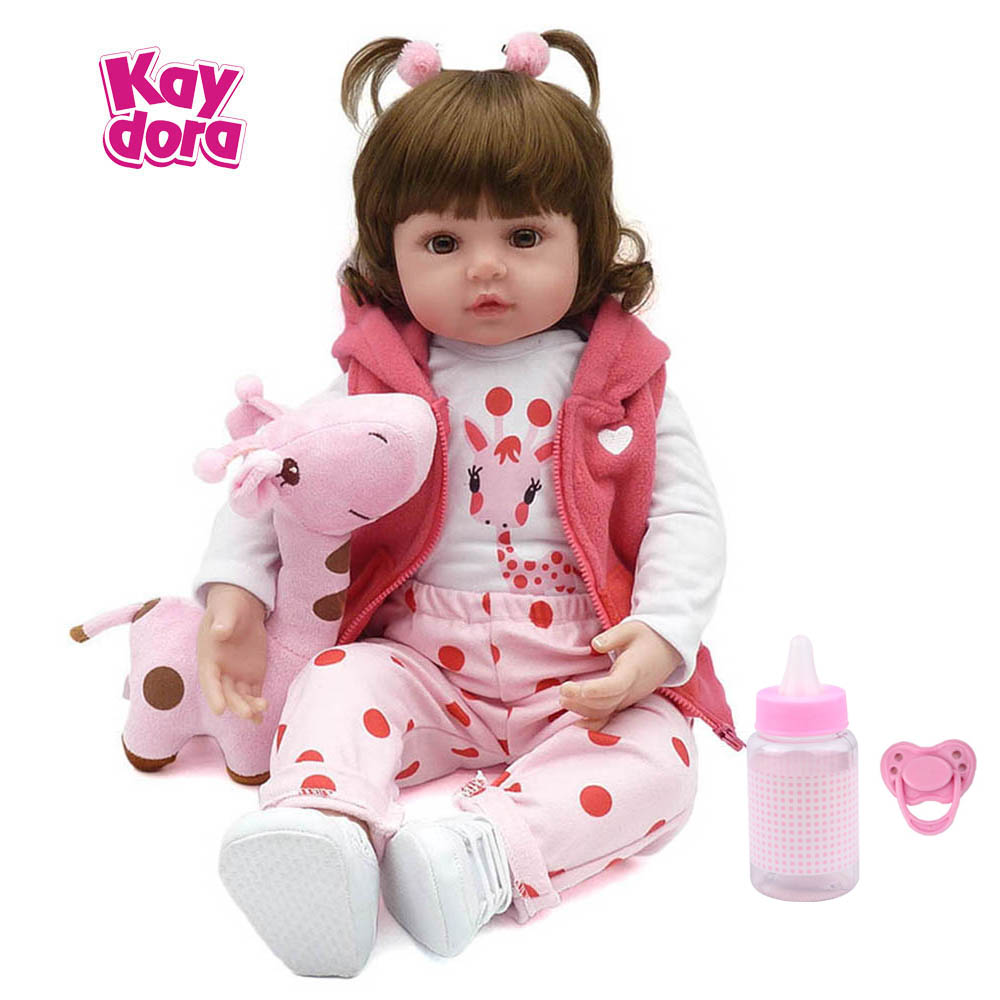 KAYDORA 47 cm/55 cm Silicone Renascer Baby Dolls Bebê Vivo Realistas Boneca Bebe Reborn Lifelike Boneca Menina Real presente de aniversário de Natal