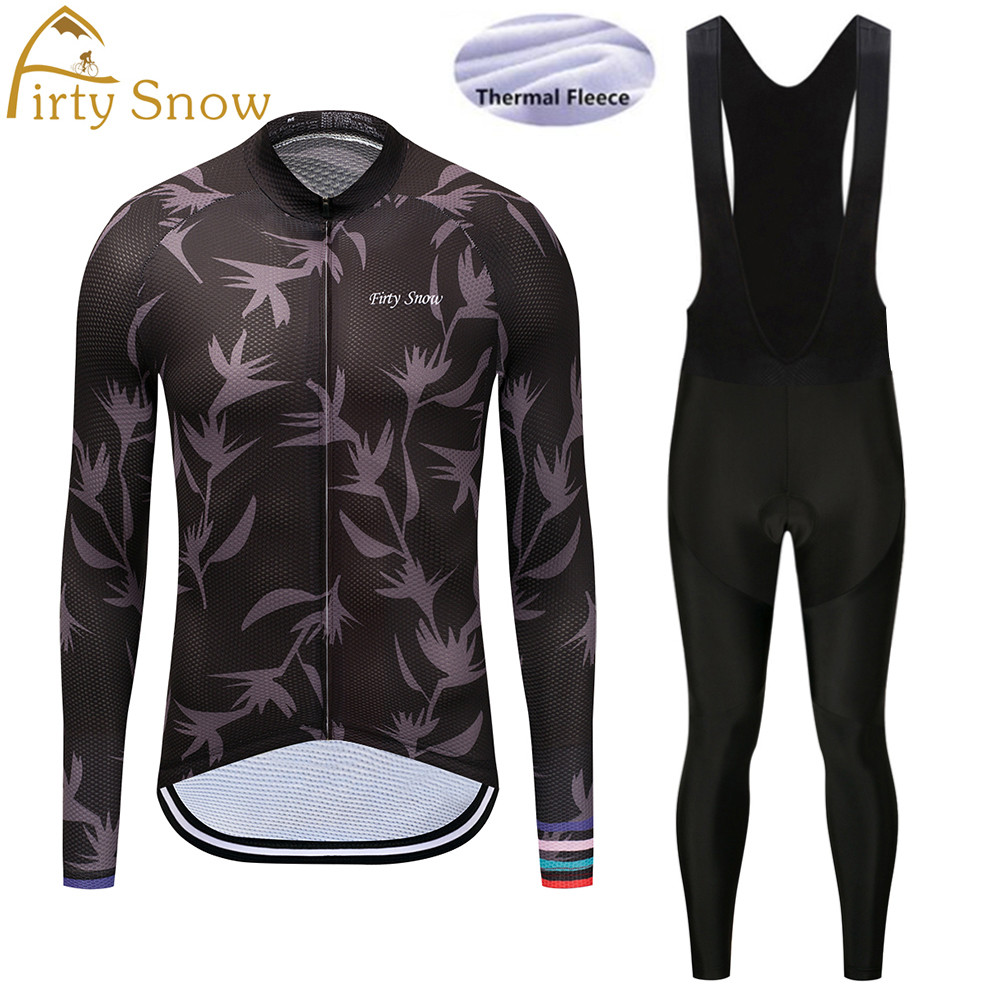 Firty Snow 2018 new team Winter thermal fleece clothes long sleeve cycling jersey pants bicycle wear ropa ciclismo maillot