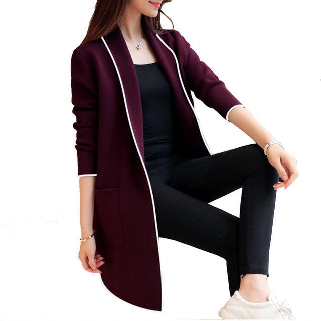 Kadın sonbahar 2019 yeni popüler basit uzun kollu yaka hırka rüzgarlık moda rahat düz renk uzun ceket