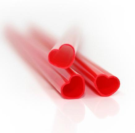 heart shaped plastic straight drinking straws for weddingdecoration disposable straw 50pieces/bag