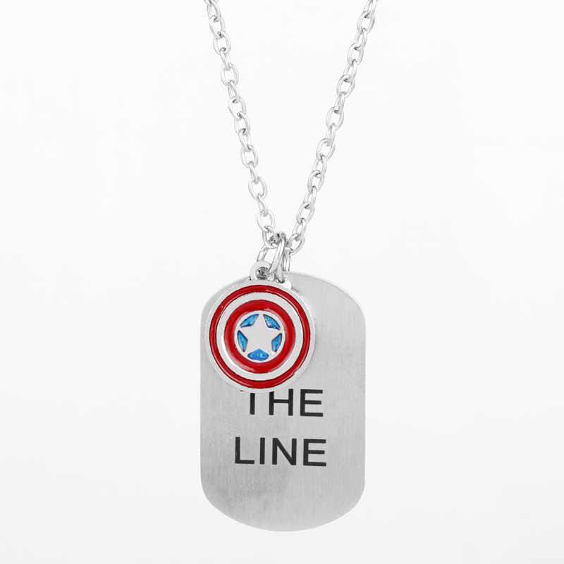 """Le collier Avengers Captain America """"je suis avec vous jusqu'à la fin de la ligne"""" collier en acier inoxydable avec Logo de bouclier estampé à la main"""