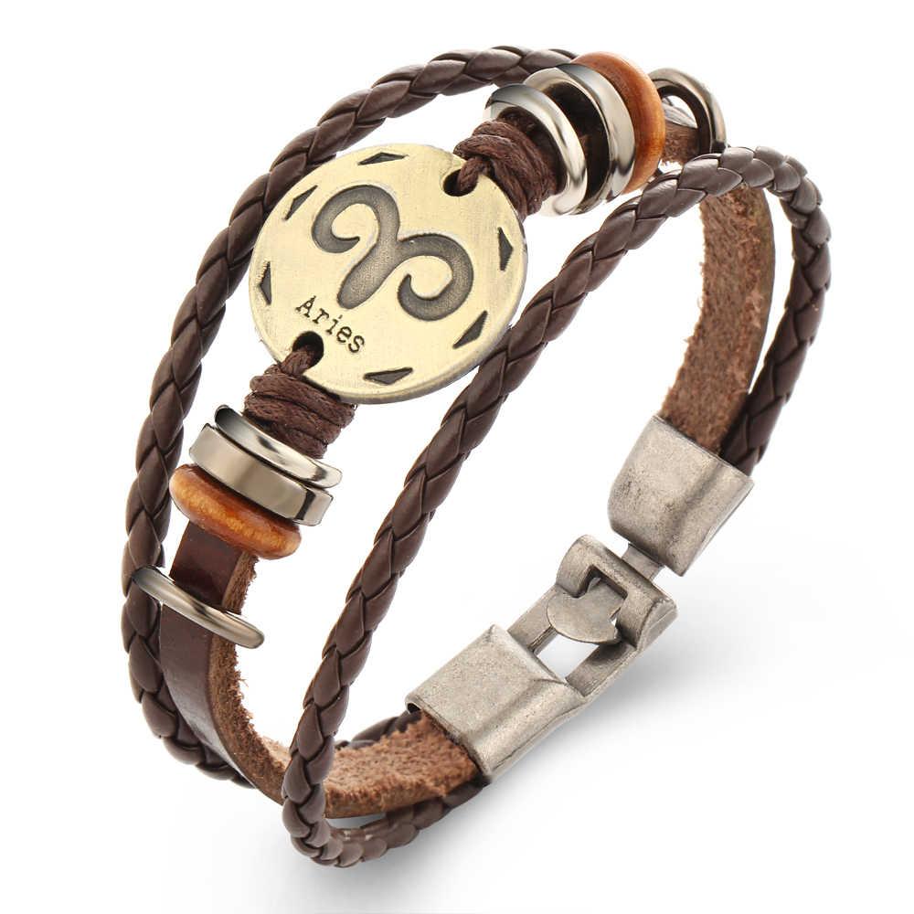 17 км новый бренд 12 созвездий браслеты, бижутерия мужские кожаные браслеты Повседневная индивидуальность винтажный браслет в стиле панк подарок