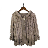 Autumn Winter Women's Genuine Knitted Rabbit Fur Poncho With Hoody Pashmina Wraps Lady Capes Female Stole VF5033