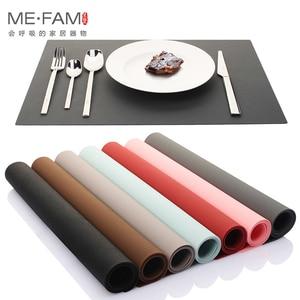 Image 4 - ME.FAM napperon en cuir et Silicone, set de Table Simple, Texture Anti chaleur, Pad de vaisselle, imperméable à leau et résistant à lhuile, tapis de Table de Table