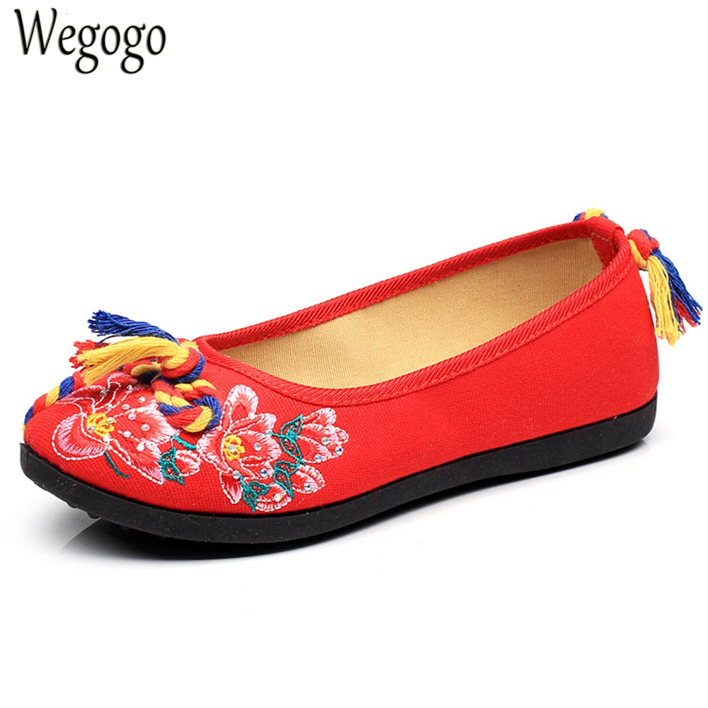 wegogo Women Flats Canvas Shoes Floral Embroidered Ladies Comfortable Colorful Knot Zapato Mujer Slip on Ballets Flats Woman vintage women flats chinese fashion beads embroidered casual canvas shoes slip on shoes for woman white shoes