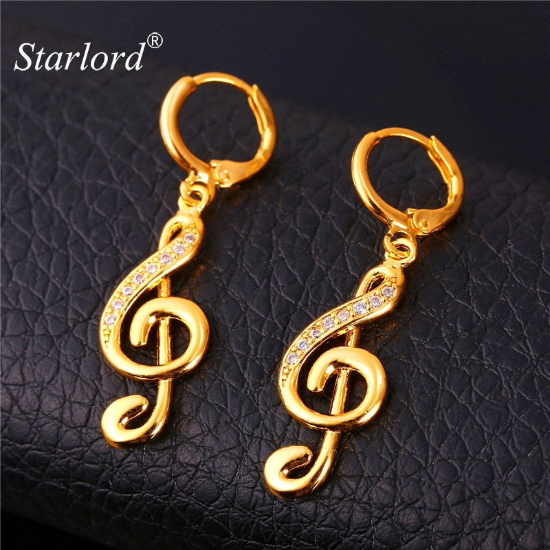 Starlord Music Note Earrings For Women Gold Color Dangle Drop Earrings Wholesale New Fashion Jewelry E1151 crested watch pc frame case protective case for apple watch 42 mm 38 mm series 1 2 colorful plating cover shell for iwatch