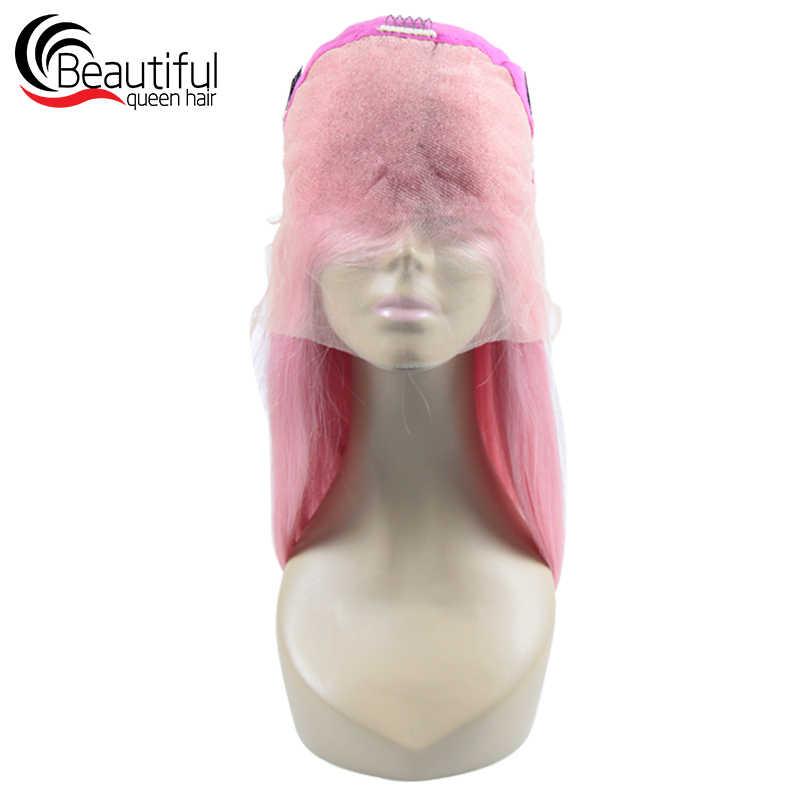 Красивые queen 10A бразильские человеческие волосы прямые парики, кружева розового цвета натуральная волос парики прозрачного кружева для Для женщин 10-26