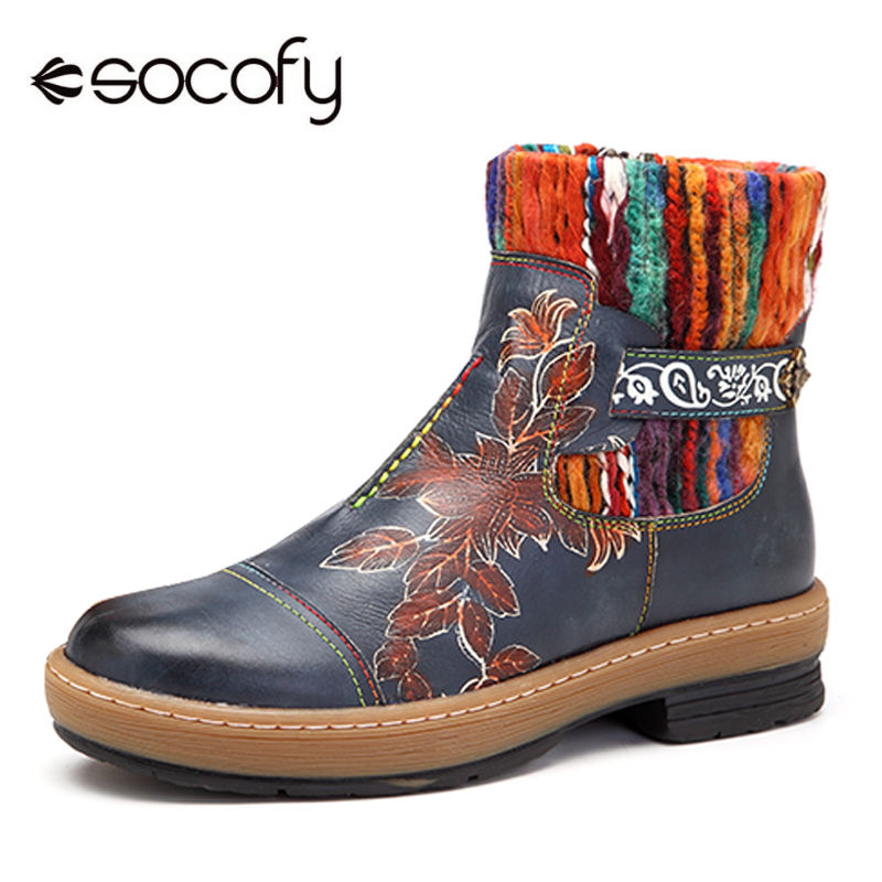 Socofy Vintage Bohemian Ankle Boots Women Shoes Genuine Leather Knitted Wool Boot Tube Zipper Shoes Woman Autumn Botas Mujer New