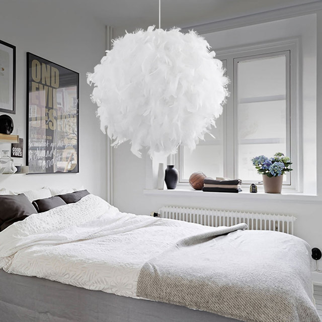 Coquimbo Pendant Feather Lamp Romantic Dreamlike Feather Droplight Bedroom Living Room Parlor Hanging Lamp E26/E27 Max 60W