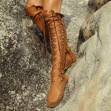 374200af2ff Sobre o joelho botas botas de cabeça redonda plana longo tubo rendas das  mulheres da cara das senhoras moda casual botas tamanho.