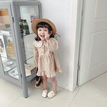 2020 primavera crianças roupas novas crianças vestido de algodão de manga comprida vestido de princesa lapela vestido de criança