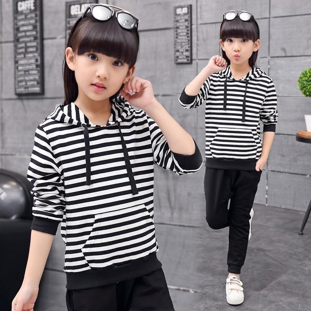 Children's Clothing Female Child Autumn Sports Set 2016 Female Child Long-Sleeve Sweatshirt Girls Sets Hooded Striped Clothes