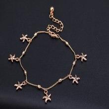 Hot summer beach starfish pulsera de tobillo del pie tobilleras cadena pulsera de tobillo de la pierna para las mujeres regalo pulsera cheville chaine cheville