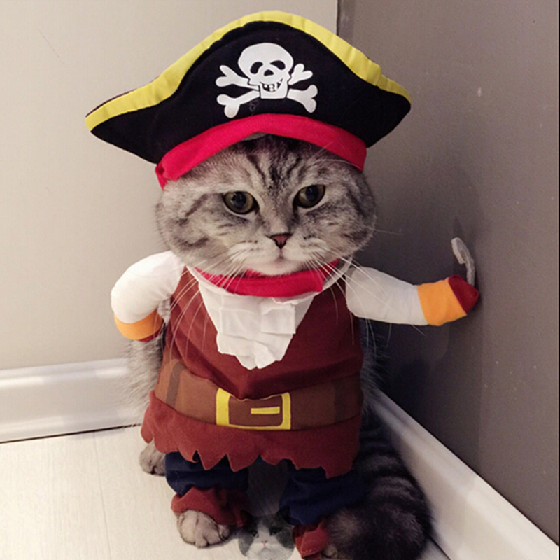 Funny Cat Costume Pirate Suit Cat Clothes Corsair Halloween Costume Puppy Clothes Suit Dressing Up Party Clothing For Cat 25S1