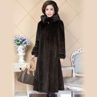 Nerazzurri Real Mink Fur Coat For Women China Full Sleeve Thick Warm Long Genuine Natural Fur