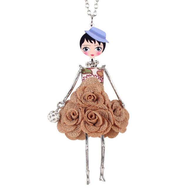 Women French Handmade Flower Necklace Pendant Statement Fashion Jewelry