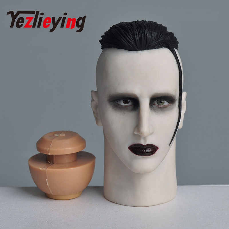 Marilyn Manson HP-0063A Exquisite mens 1/6 head shape men's head sculpture model 12 Phicen action figure doll body toy 1 6 figure doll head shape for 12 action figure doll accessories batman joker red hair head carved not include body clothes