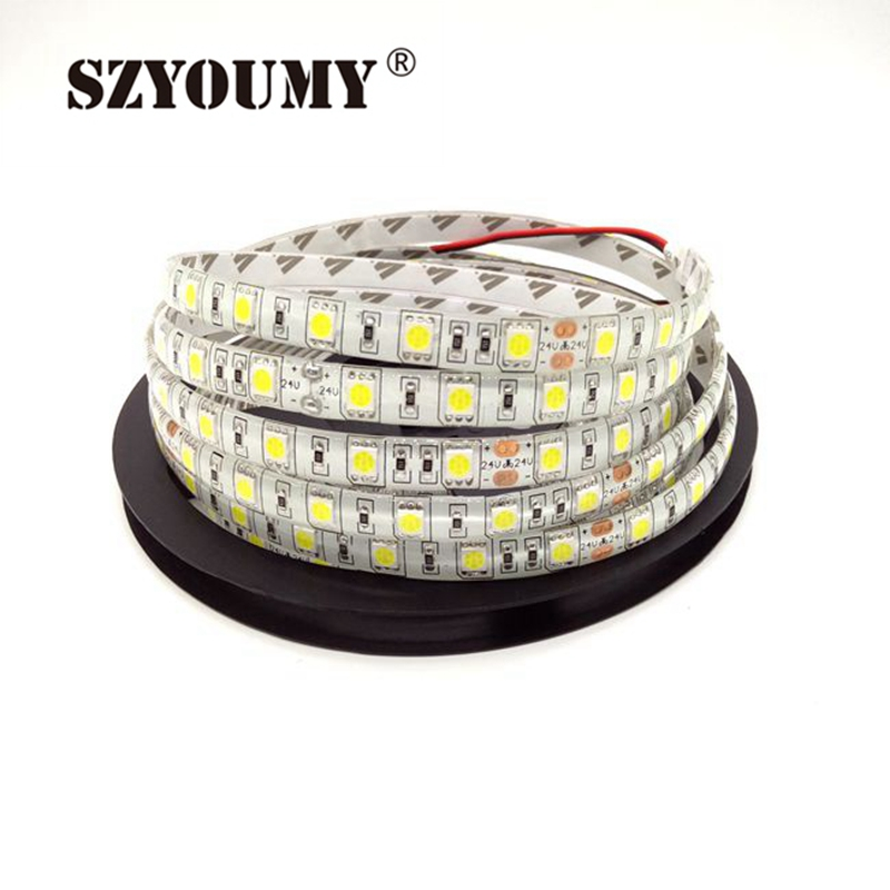 SZYOUMY 5m <font><b>24V</b></font> IP65 Waterproof <font><b>LED</b></font> Strip 5050 300leds Lighting flexible Light <font><b>stripe</b></font> <font><b>Led</b></font> Tape Luces Ribbon WarmWhite White RGB image