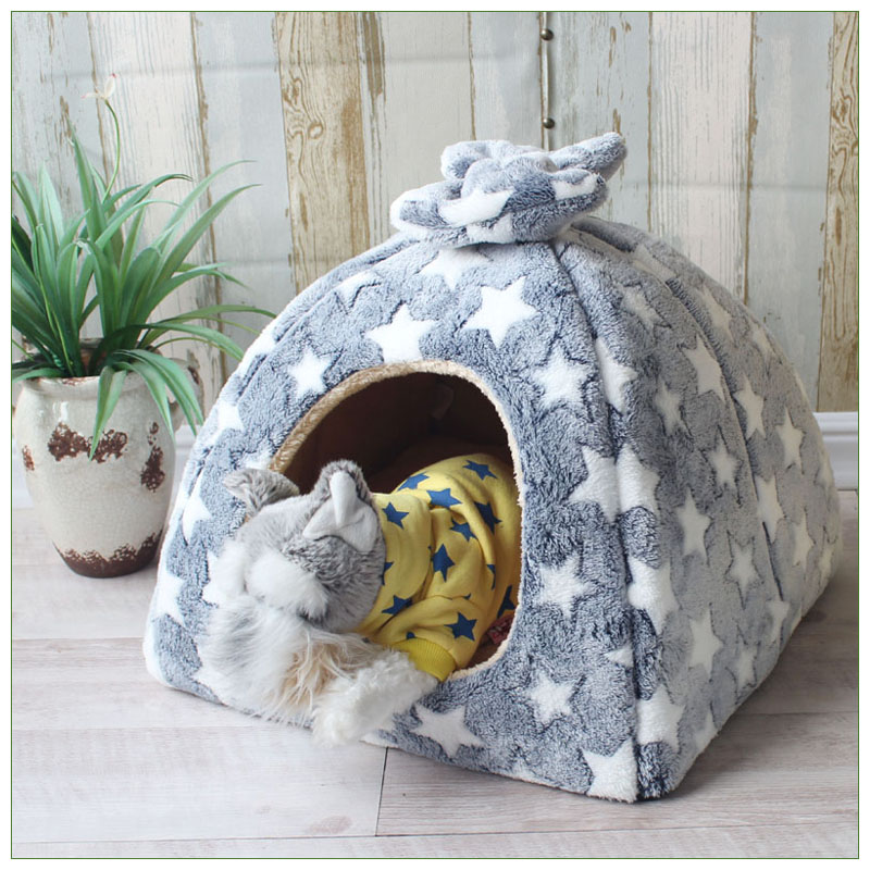 Pet Cat Cave House Foldable Tent Soft Dog Bed Mongolian Yurts Cute Kennel Nest Small Animals Puppy Chihuahua House With Mat