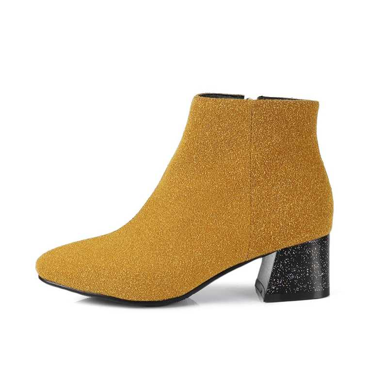 REAVE KEDI Sonbahar Kış Ayakkabı Kadın Flock Süet Deri Bot Bayan ayakkabı Yüksek Topuk yarım çizmeler bota mujer şişe Boyutu 43 a1115
