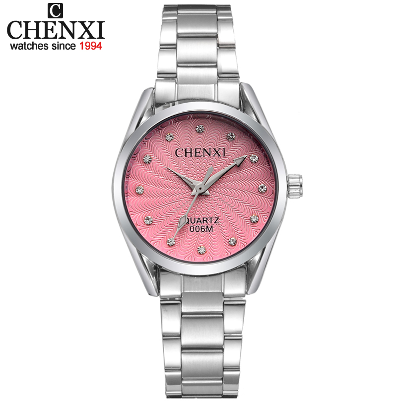 Lady Quartz Ladies Wristwatch Round Pink Rhinestone Dial Brand luxury Waterproof full Stainless Steel Watch Women Dress watches