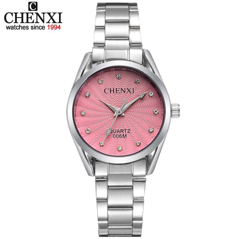 Senhora de Quartzo Das Senhoras do relógio de Pulso Rodada Rosa Rhinestone Dial Marca de luxo À Prova D' Água Relógio de Aço Inoxidável completa As Mulheres Se Vestem relógios