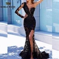 Черные вечерние платья, длинное платье для выпускного вечера с русалочкой, 2019, кружевное платье с длинным плечом, Abendkleider Arabric, Дубай, торжест