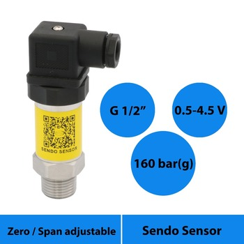 pressure sensor transmitter 0.5 to 4.5v, 16mpa/160bar sealed gauge, air water and oil, g 1/2 inch thread + Hirschmann connection