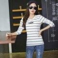 Algodão Listrado Blusas Mulheres Longas Da Luva Tops Blusa de Inverno 2015 Ladies Escritório Shirts Camiseta Femme Plus Size Mulher Roupas