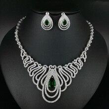 2017 new fashion luxury  green water drop zircon necklace earring set,wedding bride dinner party dress jewelry free shipping