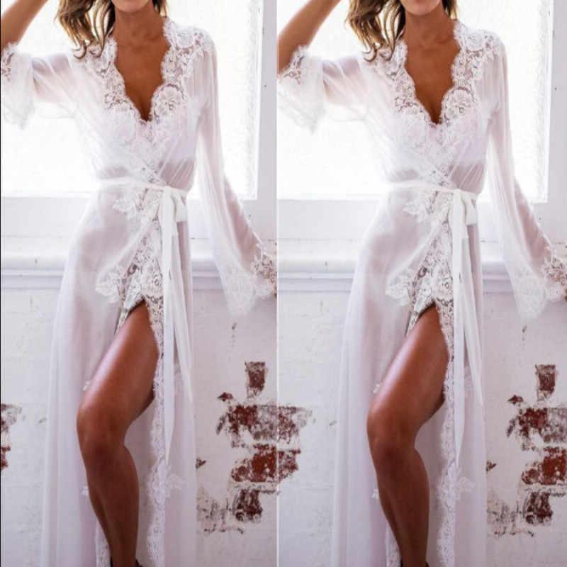 3854b4c006b33 Sexy-Lingerie-Sleepwear-Lace-Women's- Sleeping Long Bathrobe Nightdress Tops