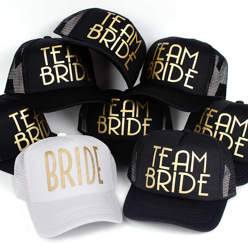 ec1ee9b45573e Most Popular Team Bride Baseball Cap Mesh Hat BRIDE Gold Print Woman Party  Holiday Ready to