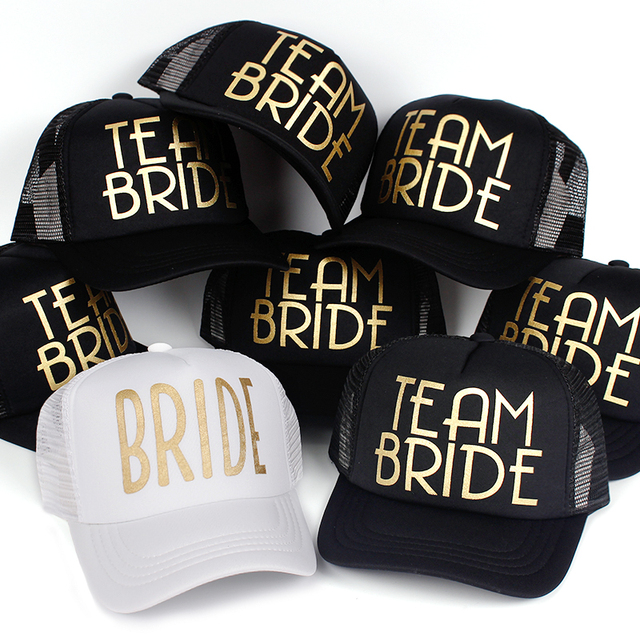 Most Popular Team Bride Baseball Cap Mesh Hat BRIDE Gold Print Woman Party  Holiday Ready to 8a7cdf2590f