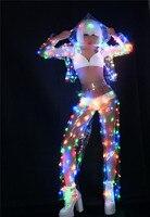 Women Color LED lights Performance clothes Music Festival Singer Dance Team DJ Disco dancing Costume Sexy LED Perspective Set