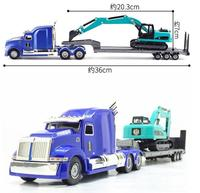 High simulation alloy engineering vehicle,1:50 alloy Flat Trailer model,Excavator transporter,collection model,free shipping