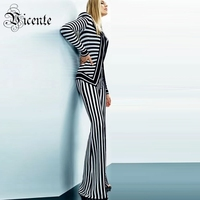 Free Shipping 2018 New Fashion Elegant Black White Striped Long Sleeves Two Pieces Celebrity Wear Wholesale