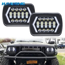 90W 7X6 5X7 LED Headlight Arrow White DRL Amber Turn Signal For Jeep Wrangler YJ Cherokee XJ Trucks H4 Square Headlights