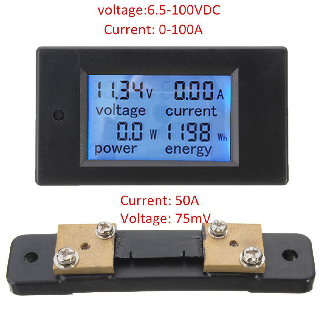 DC 6.5-100 V LCD Digital Power Meter Monitor de Panel Voltímetro Amperímetro con Shunt 50A 100A/10000 W Mayitr