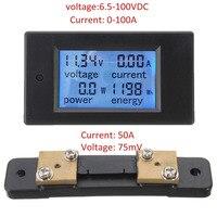Dc 6.5-100ボルト液晶デジタル電力計モニターパネル電圧計電流計50aシャント100a/10000ワットmayitr
