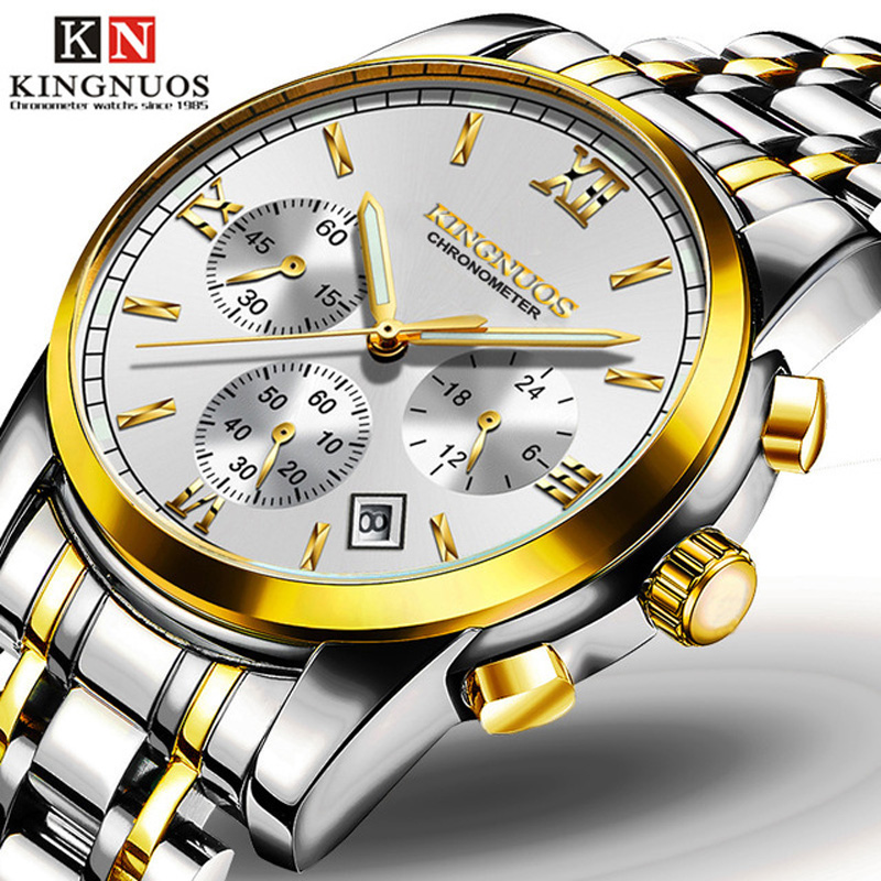 KINGNUOS Famous Brand Watch Men Fashion Calendar Luminous Watches Casual Stainless Steel Waterproof Wristwatch