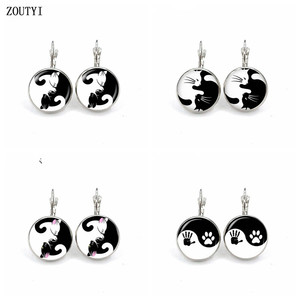 New / style glamorous fashion Yin Yang cat series palm photo earrings, convex and concave glass inlaid earrings jewelry.