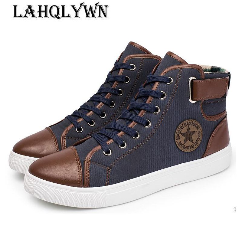 2018 New Arrive Men Causal Shoes Autumn Winter Front Lace-Up Leather Ankle Boots Shoes Man Casual High Top Canvas Men H29