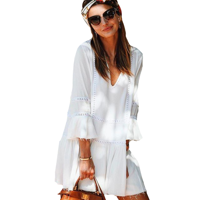 f1bf9d5a709a YJSFG HOUSE Solid White Loose Mini Boho Beach Dress Casual Sexy Summer  Women V-neck