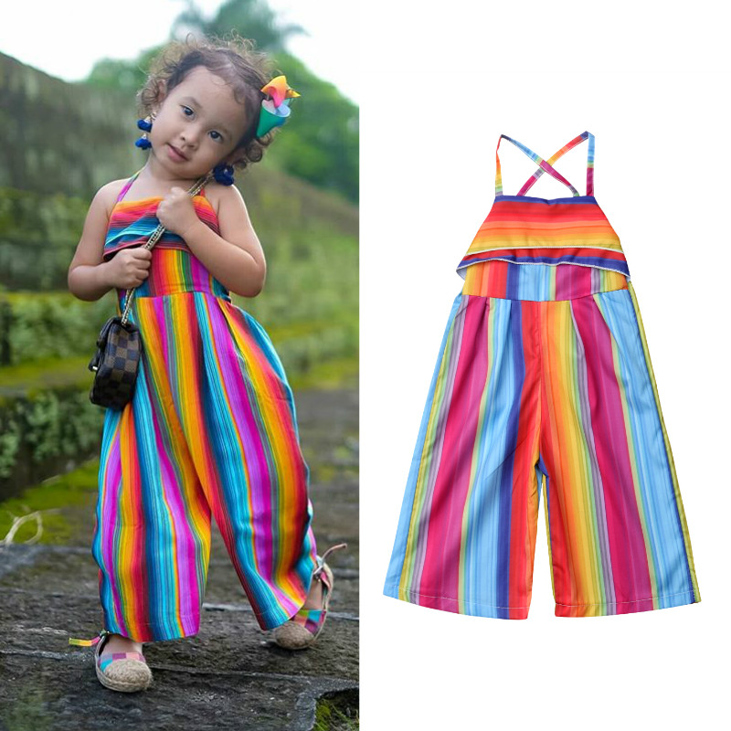 2019 Summer Rainbow Stripe Kids Clothing Baby Girls   Romper   Jumpsuit Sleeveless Casual Boho Toddler Girls Clothes Sunsuits