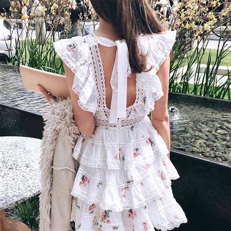 3 11 Summer Designer Cake Dresses Women s Cute Little Floral Printed Backless Lace Patchwork Layer