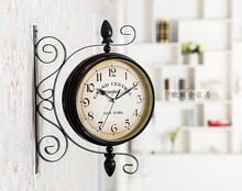 unique gift retro metal iron home decorative rotated antique the double two faced wall clock