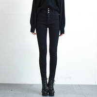 Winter Velvet Thick Insulated Jeans Woman High Waist Skinny Stretch Warm Jeans Mom Black Denim Trousers With Fleece