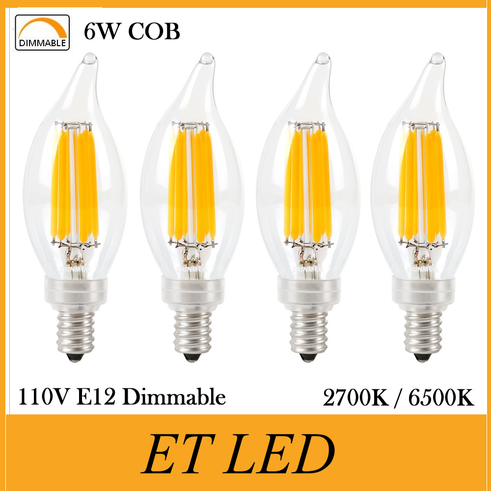 20 pack 6w led candelabra bulbs filament candle bulb c35 flame shape bent tip 600lm e12
