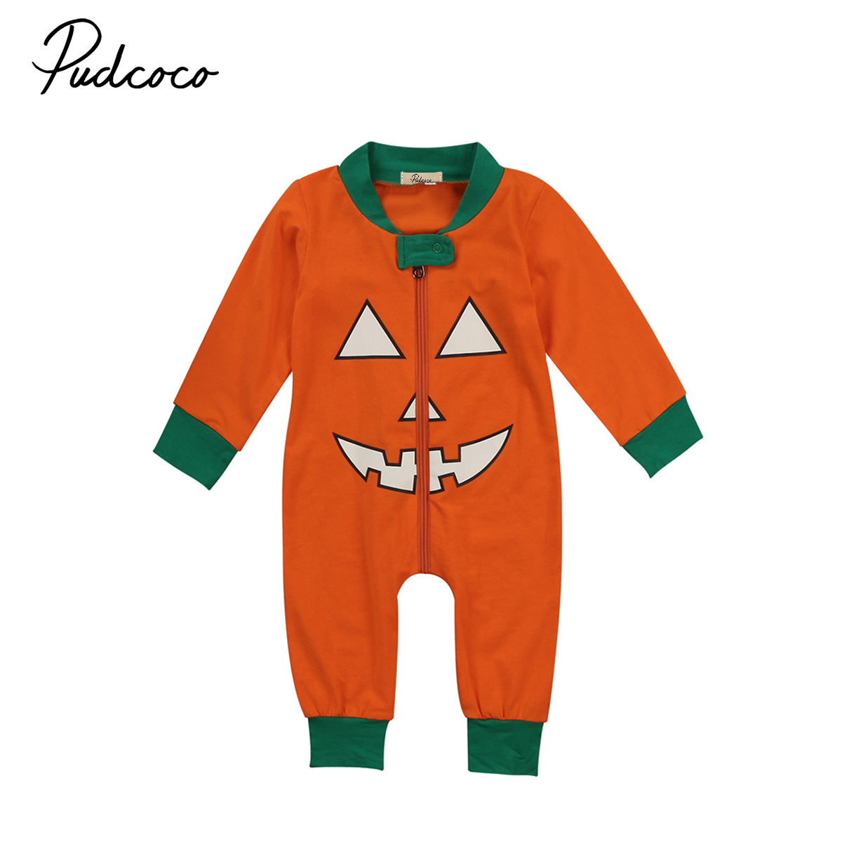 Pudcoco Newborn Infant Baby Kids Girls Boys Hallowen Pumpkin Long Sleeve Cotton Romper Playsuit Tops Outfit Clothes Sets puseky 2017 infant romper baby boys girls jumpsuit newborn bebe clothing hooded toddler baby clothes cute panda romper costumes